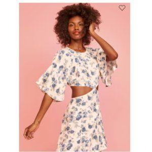Reformation Floral White Blue Cut Out Lenni Dress